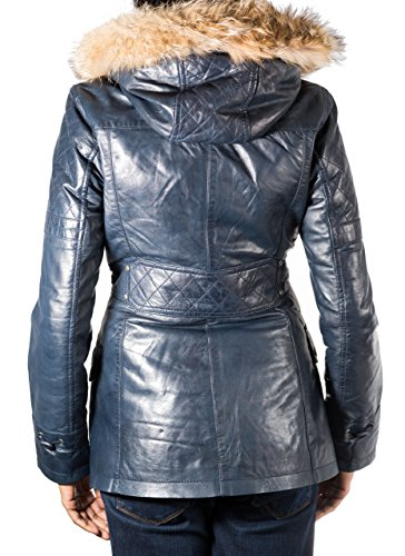 Mujeres Azul marino capa de lona de cuero. Capucha de piel. Cuerno botones de alternancia