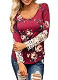 YONGM Women' Round Neck Long Sleeve Sweater Shirt Tunic Fall Floral Blouse Top Wine Red L