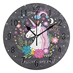 ALAZA Home Decor Unicorn are Real Quotes Moon Rainbow Flower Star Round Acrylic Wall Clock Non Ticking Silent Clock Art for Living Room Kitchen Bedroom