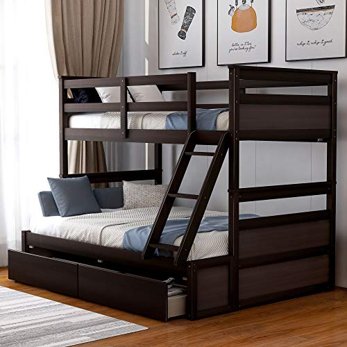 Merax-Twin-Over-Full-Bunk-Bed-for-Kids-Solid-Pine-Wood-Bunk-Bed-Frame-with-Ladders-Storage-Drawers-Espresso