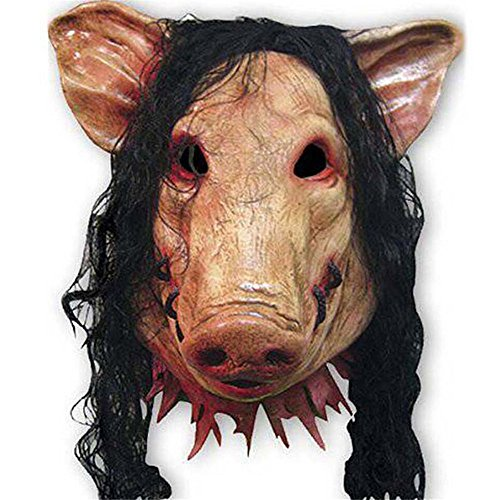 Dhakar Unisex Pig Head Mask with Hair Animal Saw Mask Masquerade Prop Latex Party Halloween (Pig Saw Mask)