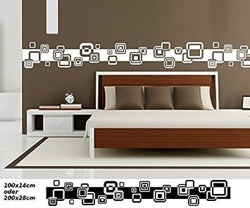 Wandtattoo Selbstklebend Bordüre Retro Style Kreis Quadrat Streifen Set  Kreise Banner Aufkleber Wohnzimmer 1U140, Farbe