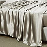 OOSilk 100% Mulberry Charmeuse Silk Flat Sheet Seamless 19mm Bed Sheet (King, Taupe)
