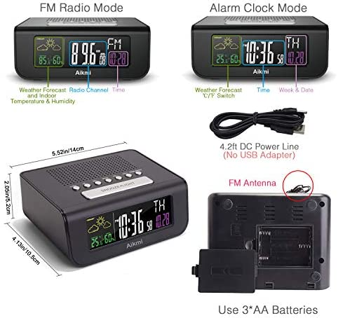 Digital Beside Clock Color Screen with Weather Forecast Dual Alarm ...