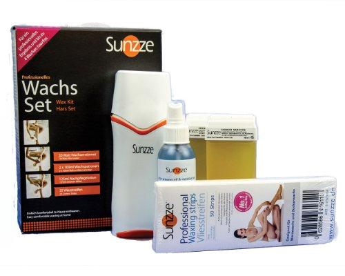 Sunzze Professionelles Wachs-Set mit Wachserhitzer, 2 Brilliance Wachspatronen, 125ml Nachpflege Oil und 25 Vliesstreifen. Geschenk Idee