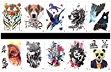 GGSELL GGSELL 10pcs tattoo dog temporary tattoos in one packages,including tiger,dog,angel horse,leopard,eagle,bird,birdcage,evil,bear,etc.