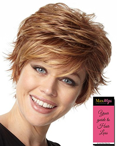 Fascination Wig Color RL16/88 PALE GOLDEN HONEY - Raquel Welch Wigs Heat Friendly Synthetic Women's Short Flirty Razored Cut Memory Cap II Base Bundle with MaxWigs Hairloss Booklet by Raquel Welch Wigs