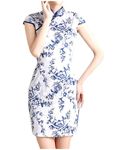 Comfy-Women Bodycon Jacquard Split Costume Stand Collar Silk Elegnat Printed Cheong-Sam Dress AS2 Small