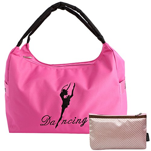 kilofly Girls Ballerina Ballet Dance Shoulder Bag Handbag + Cosmetic Pouch Set (Ballet Bags For Teens)