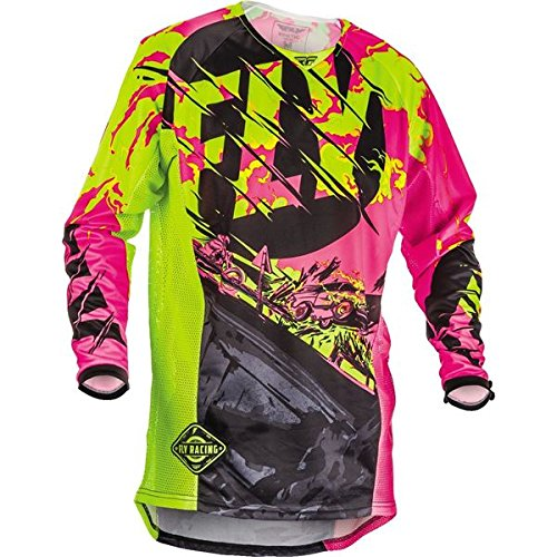 (Fly Racing 2018 Youth Kinetic Jersey - Outlaw (LARGE) (BLACK/NEON PINK/HI-VIZ))