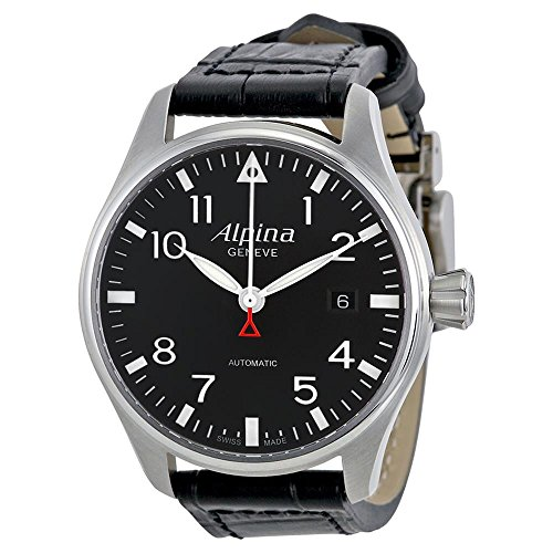 Alpina Men's Startimer Pilot 40mm Black Leather Band Steel Case Automatic Analog Watch 525B3S6