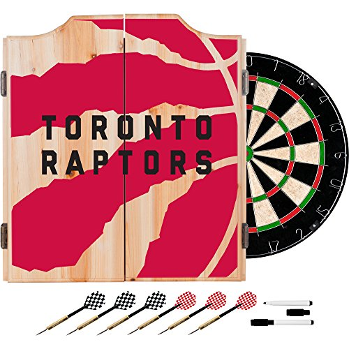 Trademark Gameroom NBA7010-TR2 NBA Dart Cabinet Set with Darts & Board - Fade - Toronto Raptors by Trademark Global