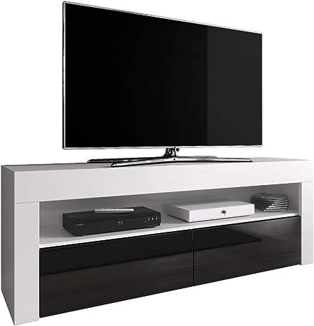E-com Mueble de TV para televisión Luna 140 cm, Cuerpo Blanco Mate/frentes Negro Brillante (sin LED): Amazon.es: Hogar