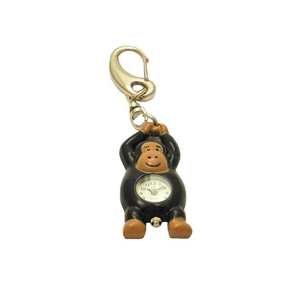 Negro Marrón Tiny Cute Mono caso trasero de acero inoxidable Japón movimiento Neat números llavero reloj