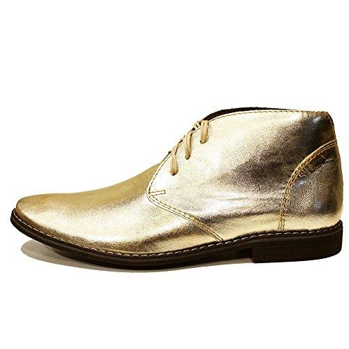 PeppeShoes Modello Goldeno - Handmade Italiano da Uomo in Pelle Oro Chukka Boots - Pelle di Capra Pelle Morbido - Allacciare