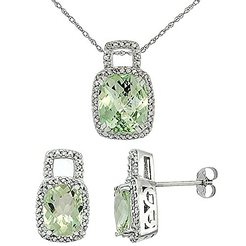 Or blanc 9carats Diamant de boucles d'oreilles et pendentif améthyste naturel octogone Coussin Vert Accents