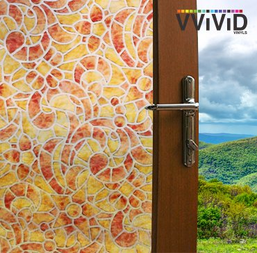 VViViD 3D Mosaic Frosted Decorative Textured Stained Glass Self Adhesive Privacy Window Film for Bathroom, Kitchen, Home, Office E0100A (17.75x36 inches)