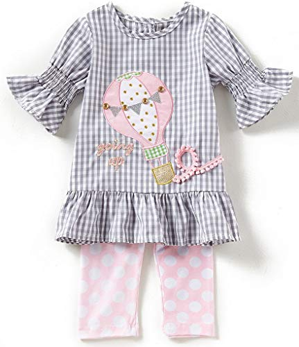 Rare Editions Girls Balloon Spring Legging Set (4-6x) (5) Grey Pink ()