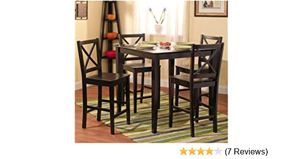 5-piece Counter Height Dining Room Set Dinette Sets Kitchen Black for 4  Persons. Home Furniture Dinning Room Furniture 4 Chairs Stools Made of  Rubberwood 5a52b2209