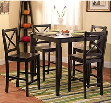 5 Piece Counter Height Dining Room Set Dinette Sets Kitchen Black For 4  Persons.