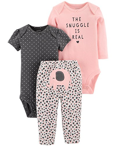 (Carter's Baby Girls 3 pc Cotton Elephant Snuggle Character Set (18M))