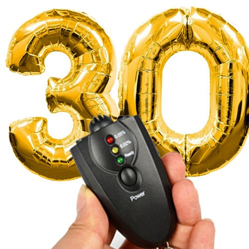 Giant 30th Gold Number Mylar Balloons for Birthday Party 40 inch 3 and 0 Balloon Decorations Dirty 30 with Alcohol Breathalyzer ()