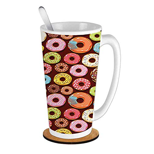 Yummy Donuts Pastry Goods Baked Delicious Tastes Sweet Dessert Menu Art,Multicolor;Ceramic Cup with Spoon & Round wooden coaster Milk Coffee Tea Mug 16oz gifts for family -