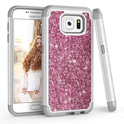 TILL for Galaxy S6 Case, TILL Luxury [Sparkle Sequins] Bling Shiny Color Glitter Girls Defender Dual Layer TPU Soft Inner Hard PC Protective Cute Case Cover Shell for Galaxy S6 S VI G9200 [Rose Gold]
