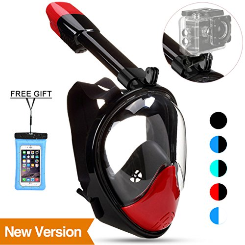 (Poppin Kicks Full Face Snorkel Mask for Adult Youth and Kids | 180° Panoramic View Anti-Fog Anti-Leak Easy Breathe No Mouthpiece Design | GoPro Compatible w/Detachable Camera Mount Red L/XL)