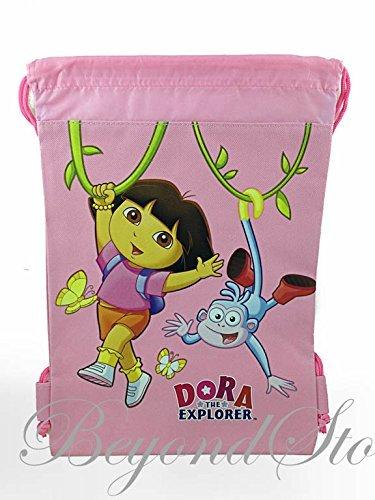 (Dora The Explorer Light Pink Drawstring Backpack Tote Bag)