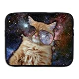 Fonsisi Laptop Storage Bag Space Cat With Glasses Portable Waterproof Laptop Case Briefcase Sleeve Bags Cover
