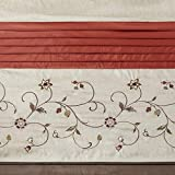Madison Park Serene Flora Fabric Shower Curtain, Embroidered Transitional Shower Curtains for...