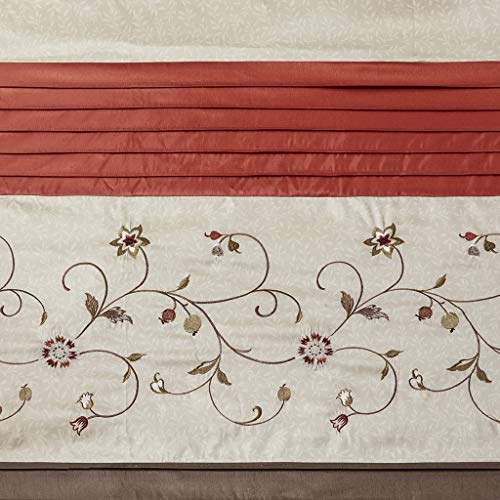 Madison Park Serene Flora Fabric Shower Curtain, Embroidered Transitional Shower Curtains for Bathroom, 72 X 72, Spice (Spice Curtains)
