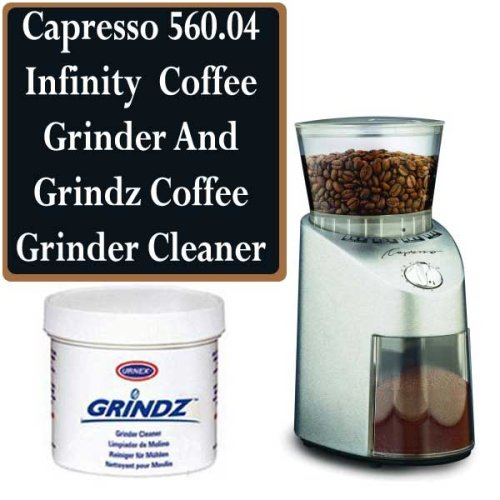 Capresso 560.04 Infinity Commercial Grade Conical Burr Coffee Grinder Bundle With Grindz Cleaner (Infinity Coffee Grinder compare prices)