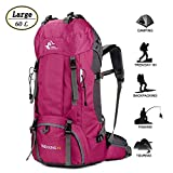 60L Waterproof Ultra Lightweight Hiking Backpack with Rain Cover,Frameless,Outdoor Sport Daypack Travel Bag