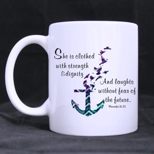 """She Is Clothed With Strength And Dignity ""Bible Verse Coffee Mug or Tea Cup with Purple Teal Chevron Anchor Style – 11 ounces"