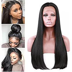 2018 New Style Straight Lace Front Wigs With Baby Hair Glueless 180 Density Synthetic Lace Wig Heat Resistant Fiber Hair Half Hand Tied For Black Women 22Inch Natural Black Color