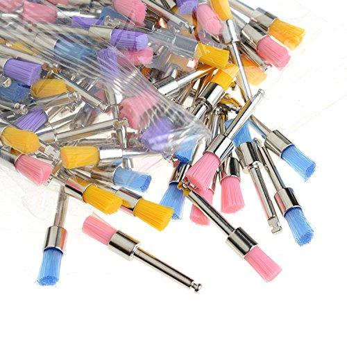 AZDENT® Dental Colorful Nylon Bowl Polishing Prophy Brushes Flat Type 100pcs/Box