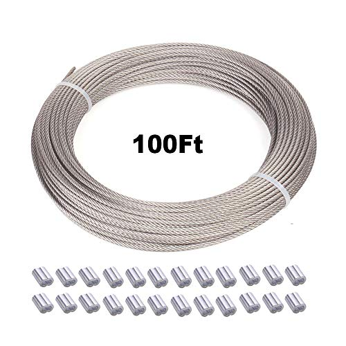 FOLUXING 100Ft Wire Rope Cable for Hanging String Light, Picture Frames, Artwork with 24 Aluminum Crimping Sleeves, 304 Stainless Steel, 1/16inch, 7x7 Strand Core, 120 lbs Breaking Strength
