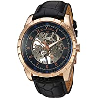 Lucien Piccard Men's 'Hampton' Mechanical Hand Wind Stainless Steel and Leather Casual Watch, Color Black (Model: LP-40028M-RG-01)