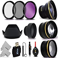 58mm Lens + Accessory Kit for CANON EOS Rebel T6i T6S T5i T4i T3i T2i T1i XTi XT SL1 XSi, EOS M, EOS M2, EOS 80D, 700D 650D 600D 550D 70D 60D 6D 5D 7D, 7D Mark II DSLR Cameras - Includes: 58MM Super High Definition FishEye Lens, 58MM High Definition Wide Angle Lens with Macro Closeup feature, + 58mm High Definition 2X Telephoto Lens + 3 Piece 58MM HD Filter Set + Ring Adapters to from 46-62mm + 58mm Tulip shaped Hard Lens Hood + 58mm Soft Rubber Lens Hood + 58mm Lens Cap + MORE