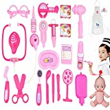 Doctor Nurse Pink Medical Kit Playset for Kids - 23 PCS Pretend Play Tools Toy Set