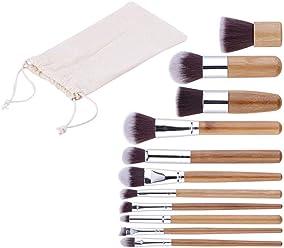 11Pcs Bamboo Handle Makeup Brushes Set Foundation Powder Blending Brush Concealer Beauty Tool Kits