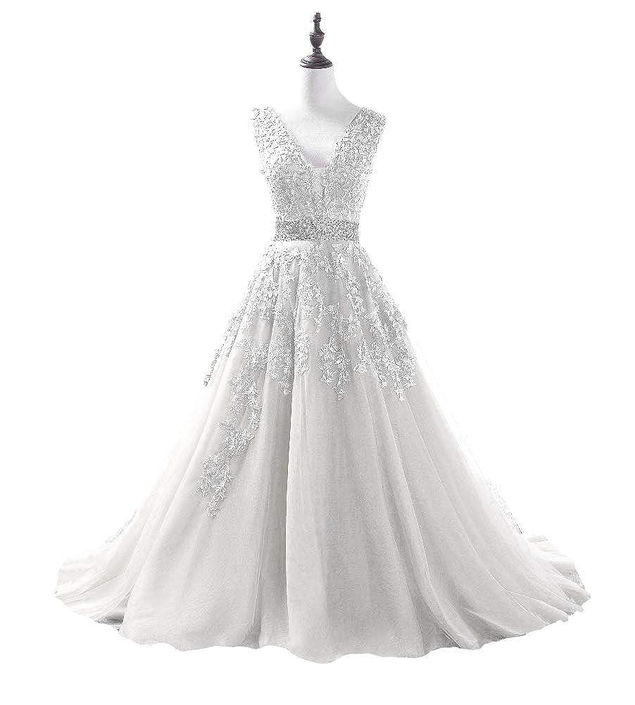 White DKBridal Women's V Neck Applique Beaded Prom Dress Long Tulle Aline Evening Party Gowns 2019