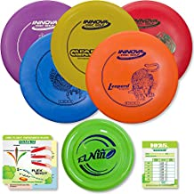 Innova Disc Golf Starter Set   Beginner Discs - DX Putter, Mid-Range, Driver - 1025 Putting Game - Flight Reference Card - Driven Mini Marker   Disc Colors Vary