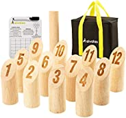 Aivalas Wooden Numbered Block Tossing Game Set, ThrowingBowling Game with 12 PCS Numbered Pins | Throwing Dow