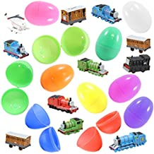 12 Colorful Easter Eggs and Thomas Train Figurines - Favorite Characters Like Thomas, Henry, and Percy - Ready To Fill, Hide and Hunt - Durable 3 Inch Eggs Are Easy To Open, Tough To Break