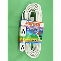 POWTECH 25 Feet Heavy Duty 3 Outlet Grounded Indoor Extention Cord Long, 13A-125V 1625W, 3 Conducter Polarized PT-3916-25W by Powtech