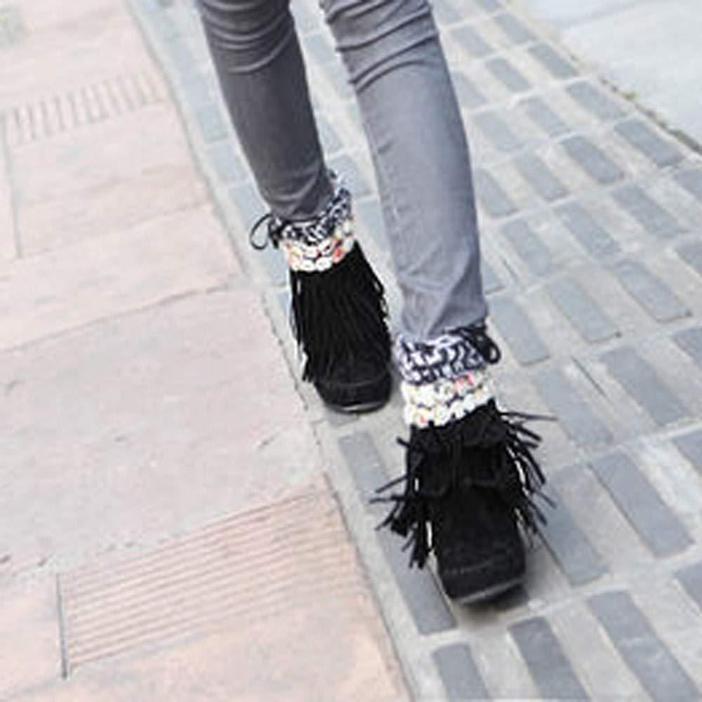 HhGold Stiefel Stiefel Stiefel Damen Schuhe Damenstiefel Frauen Mode Kurze Tube Stiefel Wildleder Fransen Fache Ferse Schnee Freizeitschuhe Winterstiefel Turnschuhe Stiefel (Farbe   Schwarz, Größe   35 EU) 6d9b42