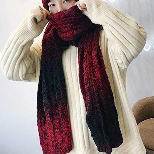 Red Scarf for Gift Winter Solid color Knitted Wool Scarf Thick Warm Shawl Dualuse Female Students Long Black Wild (color   Red) Classic Scarf (color   Green)
